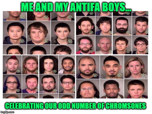 'nough said |  ME AND MY ANTIFA BOYS... CELEBRATING OUR ODD NUMBER OF CHROMSONES | image tagged in me and the boys week | made w/ Imgflip meme maker