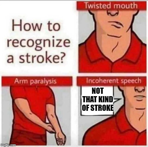 How to recognize a stroke | NOT THAT KIND OF STROKE | image tagged in how to recognize a stroke | made w/ Imgflip meme maker
