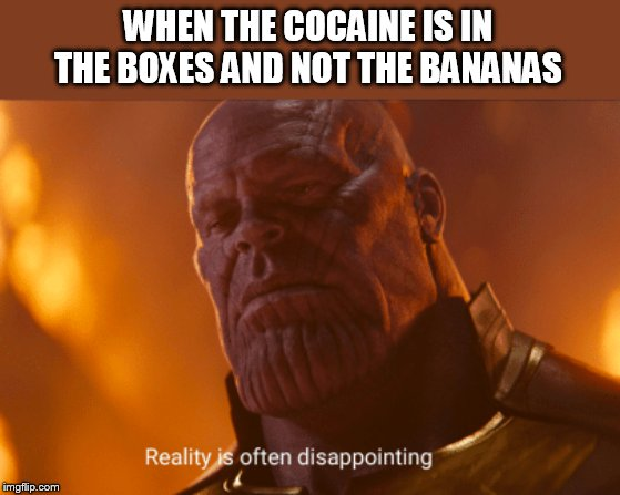 Reality is often dissapointing | WHEN THE COCAINE IS IN THE BOXES AND NOT THE BANANAS | image tagged in reality is often dissapointing | made w/ Imgflip meme maker