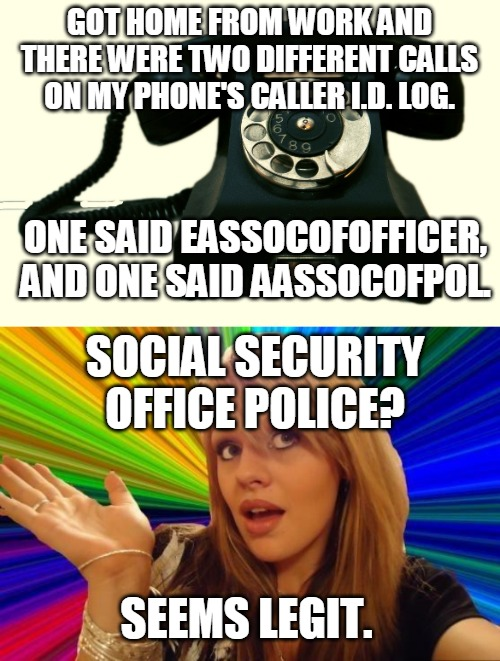 Who's going to call me next, The Dream Police? | GOT HOME FROM WORK AND THERE WERE TWO DIFFERENT CALLS ON MY PHONE'S CALLER I.D. LOG. ONE SAID EASSOCOFOFFICER, AND ONE SAID AASSOCOFPOL. SOC | image tagged in telephone,memes,dumb blonde | made w/ Imgflip meme maker