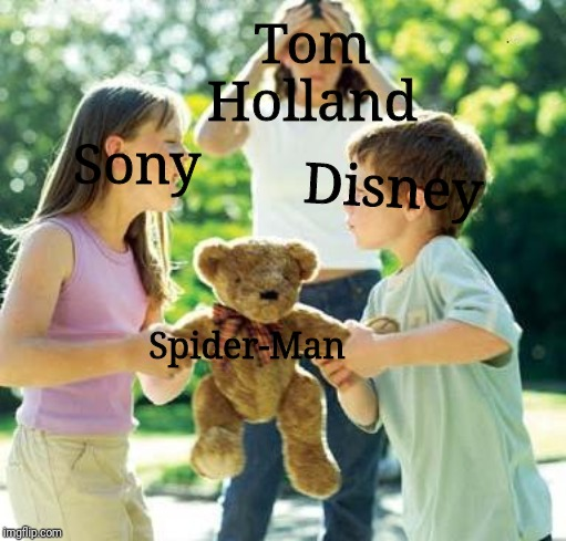 kids fighting |  Tom Holland; Sony; Disney; Spider-Man | image tagged in kids fighting | made w/ Imgflip meme maker