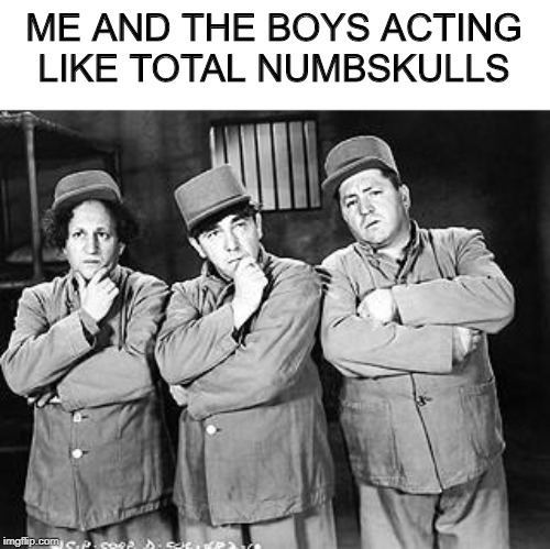Stooges...Me and The Boys Week, a CravenMoordik and Nixie.Knox event! Aug 19-25 | ME AND THE BOYS ACTING LIKE TOTAL NUMBSKULLS | image tagged in three stooges thinking,me and the boys week | made w/ Imgflip meme maker