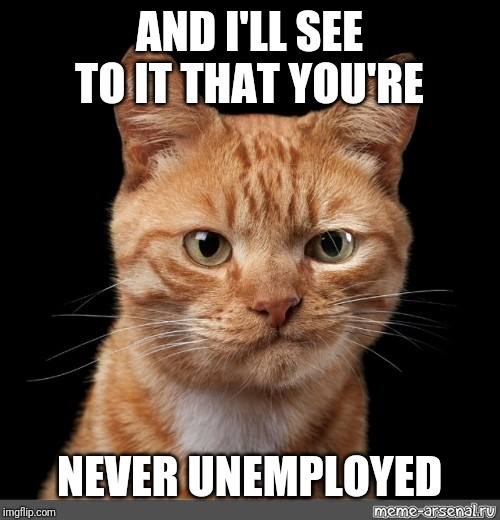 smirking cat2 | AND I'LL SEE TO IT THAT YOU'RE NEVER UNEMPLOYED | image tagged in smirking cat2 | made w/ Imgflip meme maker