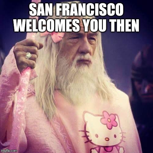 Gandalf | SAN FRANCISCO WELCOMES YOU THEN | image tagged in gandalf | made w/ Imgflip meme maker