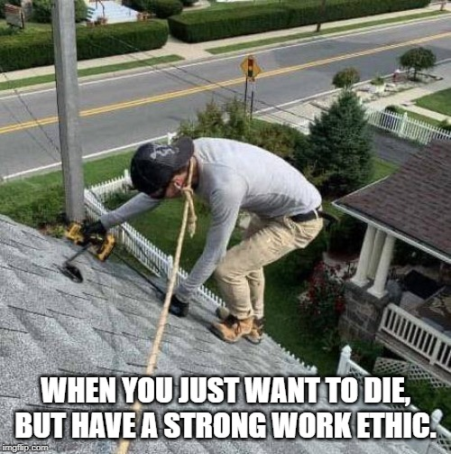 WHEN YOU JUST WANT TO DIE, BUT HAVE A STRONG WORK ETHIC. | image tagged in roof,rope,suicide,work | made w/ Imgflip meme maker