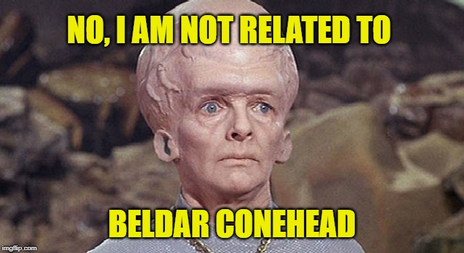 Terrans think all off-worlders look alike. | NO, I AM NOT RELATED TO BELDAR CONEHEAD | image tagged in star trek exploding head,memes,conehead,mistaken identity,sci-fi | made w/ Imgflip meme maker