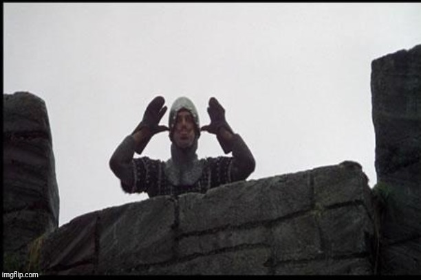 French Taunting in Monty Python's Holy Grail | image tagged in french taunting in monty python's holy grail | made w/ Imgflip meme maker