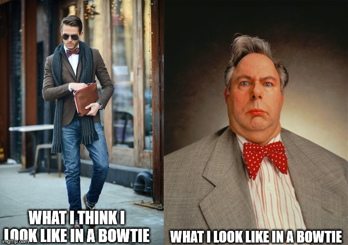 What I think I look like in a bowtie | WHAT I THINK I LOOK LIKE IN A BOWTIE WHAT I LOOK LIKE IN A BOWTIE | image tagged in style,aging,middle-age,appearance,disillusionment | made w/ Imgflip meme maker