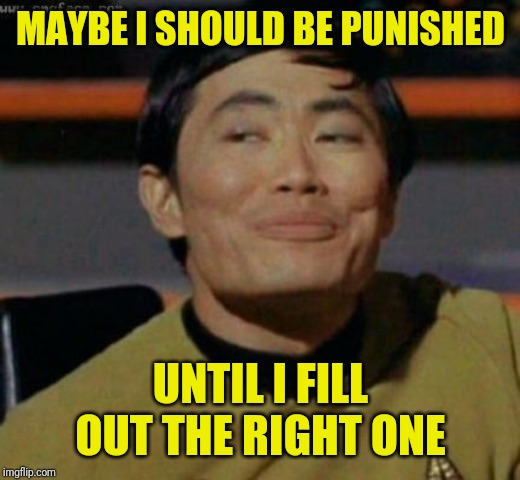 sulu | MAYBE I SHOULD BE PUNISHED UNTIL I FILL OUT THE RIGHT ONE | image tagged in sulu | made w/ Imgflip meme maker