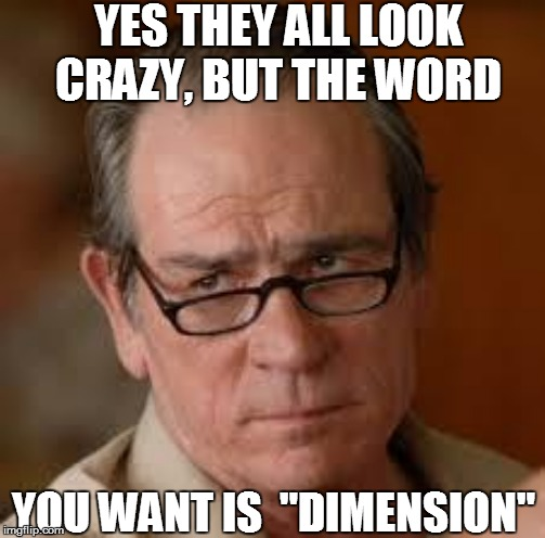 "YES THEY ALL LOOK CRAZY, BUT THE WORD YOU WANT IS  ""DIMENSION"" 