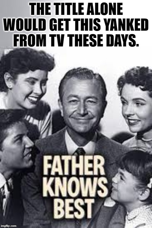 I remember watching this. | THE TITLE ALONE WOULD GET THIS YANKED FROM TV THESE DAYS. | image tagged in nixieknox,memes,father knows best | made w/ Imgflip meme maker
