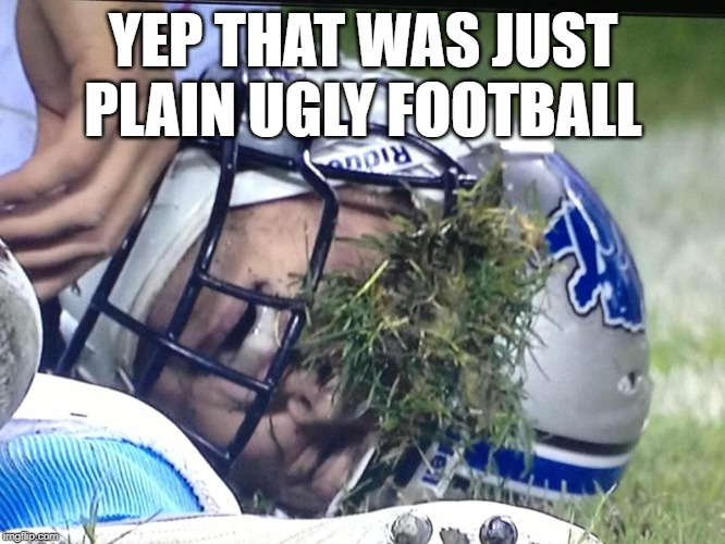 Ugly Football |  YEP THAT WAS JUST PLAIN UGLY FOOTBALL | image tagged in lions,detroit,detroit lions,ugly football | made w/ Imgflip meme maker