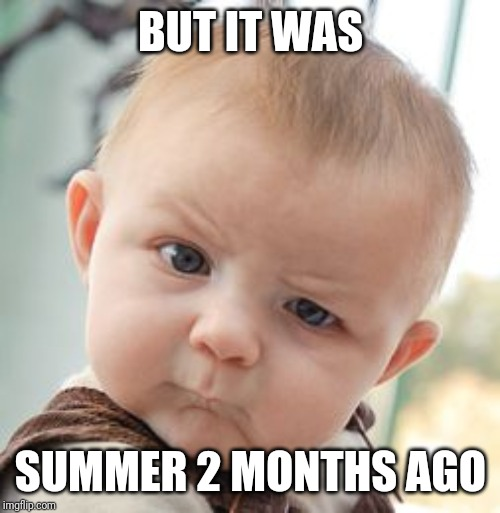 Skeptical Baby Meme | BUT IT WAS SUMMER 2 MONTHS AGO | image tagged in memes,skeptical baby | made w/ Imgflip meme maker