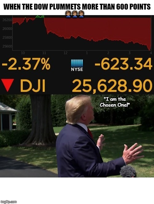 Chosen Dow Drop | WHEN THE DOW PLUMMETS MORE THAN 600 POINTS | image tagged in chosen dow drop | made w/ Imgflip meme maker