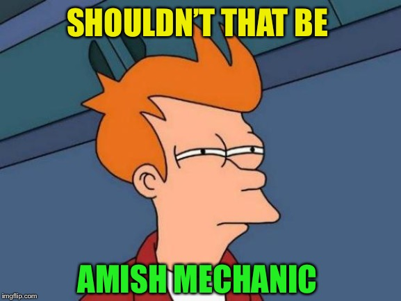 Futurama Fry Meme | SHOULDN'T THAT BE AMISH MECHANIC | image tagged in memes,futurama fry | made w/ Imgflip meme maker