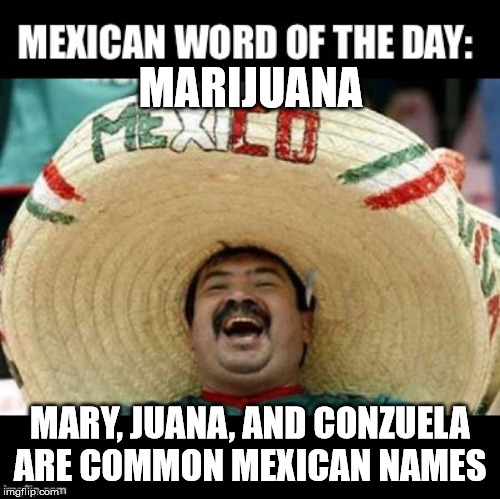 The Three Amigas! | MARIJUANA MARY, JUANA, AND CONZUELA ARE COMMON MEXICAN NAMES | image tagged in mexican word of the day large,marijuana,memes,puns,bad puns | made w/ Imgflip meme maker