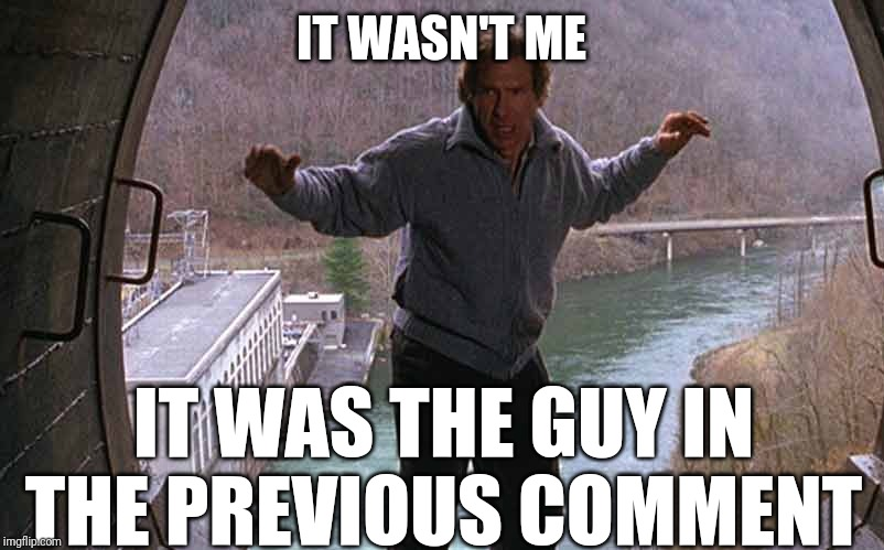 the fugitive, one armed man | IT WASN'T ME IT WAS THE GUY IN THE PREVIOUS COMMENT | image tagged in the fugitive one armed man | made w/ Imgflip meme maker