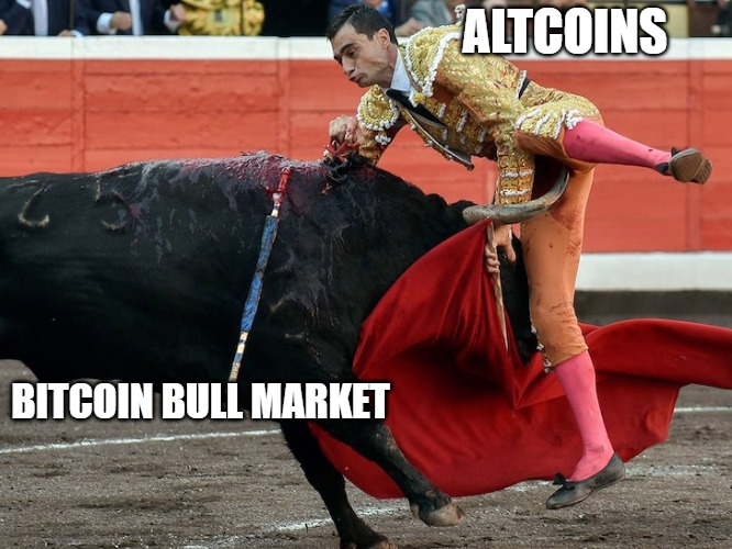 Always Wear A Cup | ALTCOINS BITCOIN BULL MARKET | image tagged in bitcoin,bull,altcoins,btc,shitcoins | made w/ Imgflip meme maker