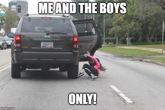 Kicked Out of Car | ME AND THE BOYS ONLY! | image tagged in kicked out of car | made w/ Imgflip meme maker