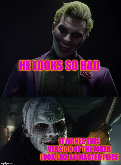 HE LOOKS SO BAD IT MAKES THIS VERSION OF THE JOKER LOOK LIKE AN MASTER PIECE | image tagged in dc comics,joker,show,gotham | made w/ Imgflip meme maker
