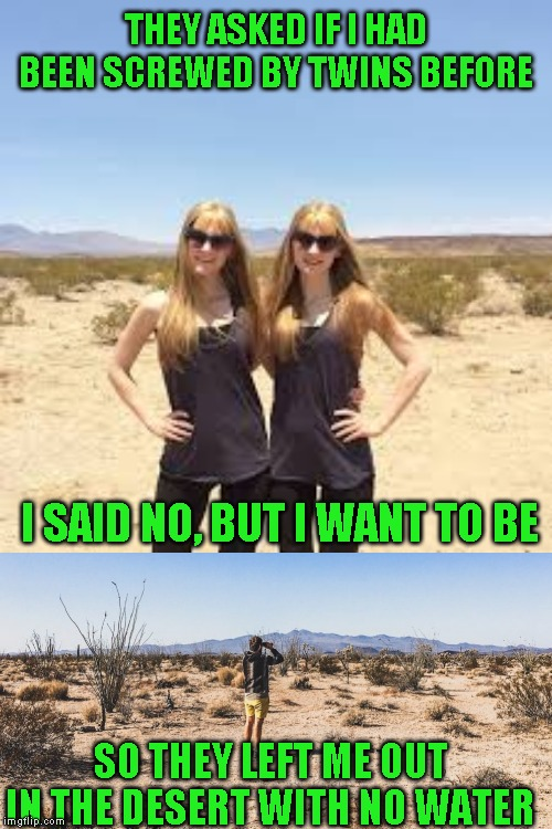 Celebrating the Me and the Boys week ending by not posting one | THEY ASKED IF I HAD BEEN SCREWED BY TWINS BEFORE SO THEY LEFT ME OUT IN THE DESERT WITH NO WATER I SAID NO, BUT I WANT TO BE | image tagged in thanks nixie and craven | made w/ Imgflip meme maker