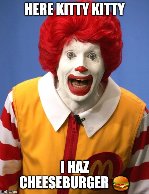 Ronald McDonald | HERE KITTY KITTY I HAZ CHEESEBURGER ? | image tagged in ronald mcdonald | made w/ Imgflip meme maker