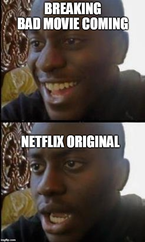 Disappointed Black Guy | BREAKING BAD MOVIE COMING NETFLIX ORIGINAL | image tagged in disappointed black guy,netflix,breaking bad | made w/ Imgflip meme maker