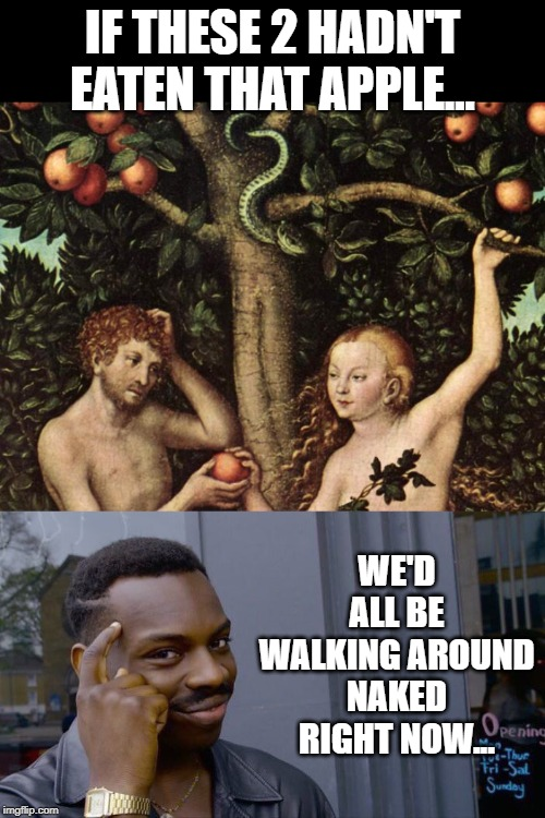 The Original Sin | IF THESE 2 HADN'T EATEN THAT APPLE... WE'D ALL BE WALKING AROUND NAKED RIGHT NOW... | image tagged in adam and eve,memes,roll safe think about it | made w/ Imgflip meme maker