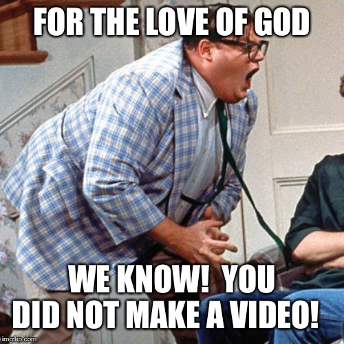 Chris Farley For the love of god |  FOR THE LOVE OF GOD; WE KNOW!  YOU DID NOT MAKE A VIDEO! | image tagged in chris farley for the love of god | made w/ Imgflip meme maker