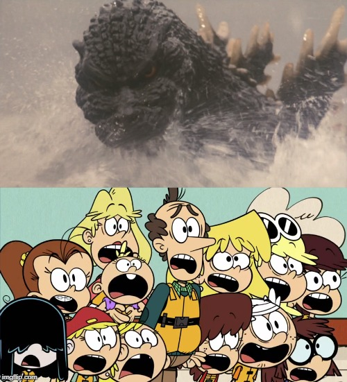 The Loud family see Godzilla | image tagged in the loud house,godzilla | made w/ Imgflip meme maker