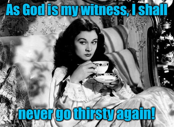gone with the wind | As God is my witness, I shall never go thirsty again! | image tagged in gone with the wind | made w/ Imgflip meme maker