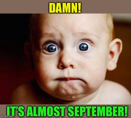 Scared Face | DAMN! IT'S ALMOST SEPTEMBER! | image tagged in scared face | made w/ Imgflip meme maker