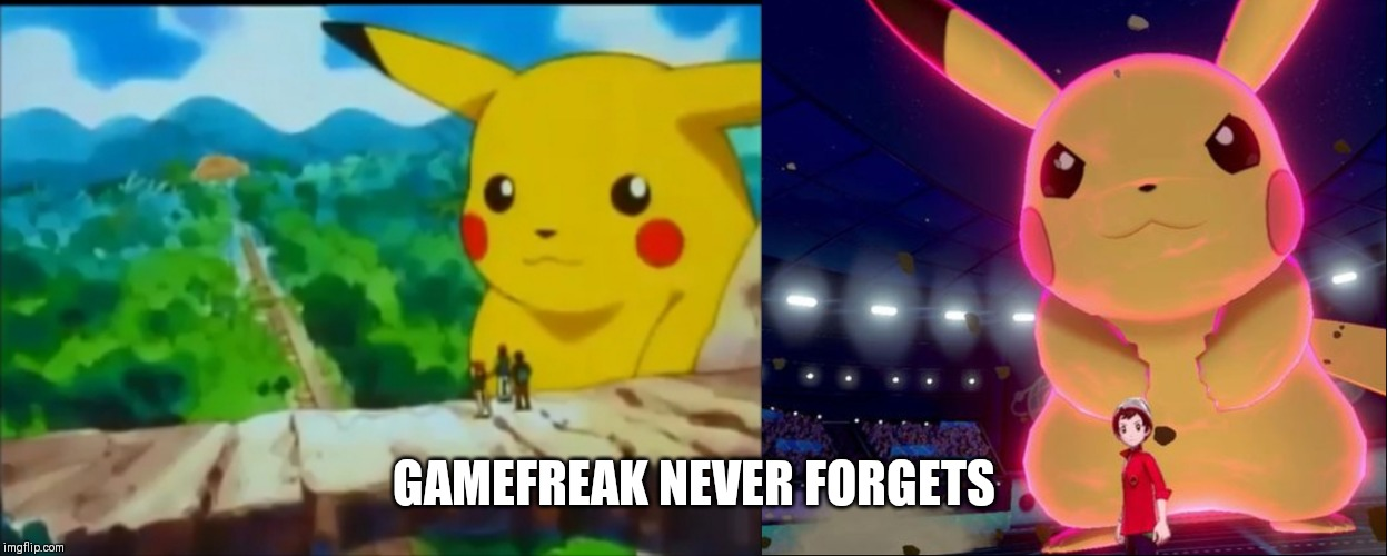 Pokemon anime and pokemon swsh big pikachu comparison | GAMEFREAK NEVER FORGETS | image tagged in pokemon,pikachu,never forget | made w/ Imgflip meme maker