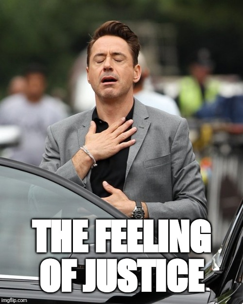 THE FEELING OF JUSTICE | image tagged in relief | made w/ Imgflip meme maker