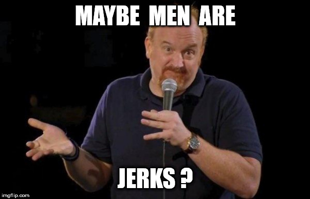 Louis ck but maybe | MAYBE  MEN  ARE JERKS ? | image tagged in louis ck but maybe | made w/ Imgflip meme maker