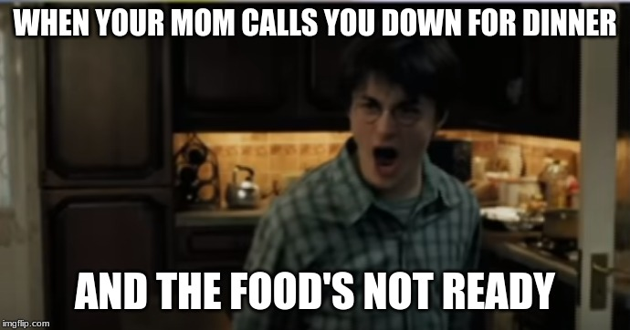 WHEN YOUR MOM CALLS YOU DOWN FOR DINNER; AND THE FOOD'S NOT READY | image tagged in harry potter,mom,dinner | made w/ Imgflip meme maker