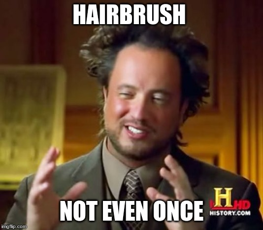 Ancient Aliens Meme | HAIRBRUSH NOT EVEN ONCE | image tagged in memes,ancient aliens | made w/ Imgflip meme maker