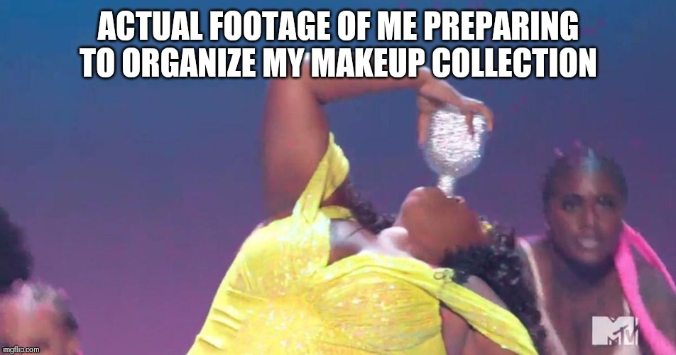 ACTUAL FOOTAGE OF ME PREPARING TO ORGANIZE MY MAKEUP COLLECTION | image tagged in makeup,current mood | made w/ Imgflip meme maker