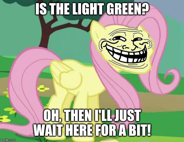 Some idiots on the road be like... | IS THE LIGHT GREEN? OH, THEN I'LL JUST WAIT HERE FOR A BIT! | image tagged in fluttertroll,memes,traffic,idiots,green light,traffic light | made w/ Imgflip meme maker