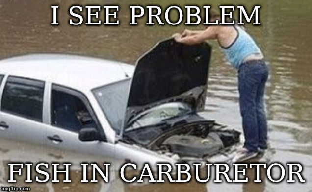 I SEE PROBLEM FISH IN CARBURETOR | image tagged in i see prblem | made w/ Imgflip meme maker