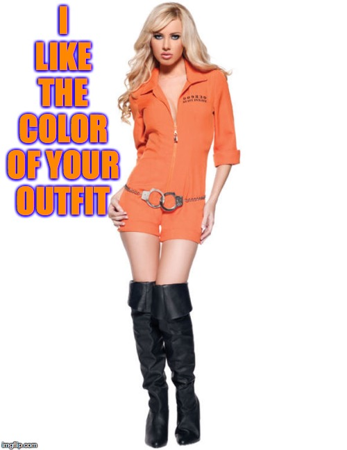 Female Prisoner | I LIKE THE COLOR OF YOUR OUTFIT | image tagged in female prisoner | made w/ Imgflip meme maker