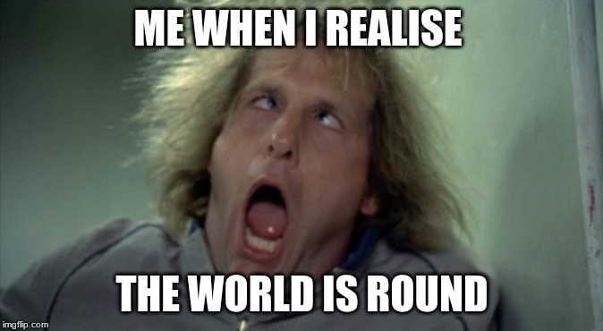 Scary Harry | ME WHEN I REALISE THE WORLD IS ROUND | image tagged in memes,scary harry | made w/ Imgflip meme maker