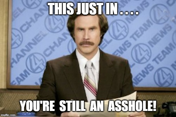 Ron Burgundy | THIS JUST IN . . . . YOU'RE  STILL  AN  ASSHOLE! | image tagged in memes,ron burgundy | made w/ Imgflip meme maker