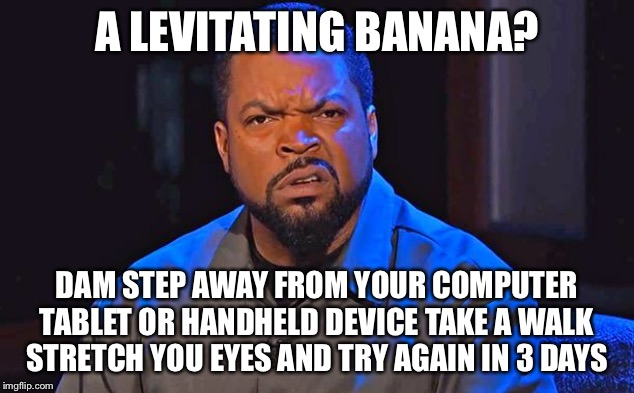 ice cube | A LEVITATING BANANA? DAM STEP AWAY FROM YOUR COMPUTER TABLET OR HANDHELD DEVICE TAKE A WALK STRETCH YOU EYES AND TRY AGAIN IN 3 DAYS | image tagged in ice cube | made w/ Imgflip meme maker