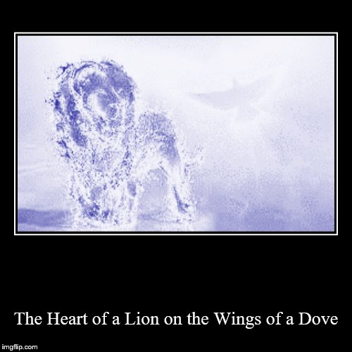The Heart of a Lion on the Wings of a Dove | image tagged in holy spirit,christian,lion,christianity | made w/ Imgflip demotivational maker