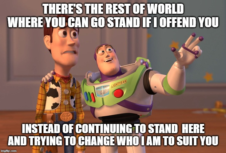 Butthurt Woody | THERE'S THE REST OF WORLD WHERE YOU CAN GO STAND IF I OFFEND YOU INSTEAD OF CONTINUING TO STAND  HERE AND TRYING TO CHANGE WHO I AM TO SUIT  | image tagged in memes,x x everywhere,butthurt,offended,suck it up,go away | made w/ Imgflip meme maker