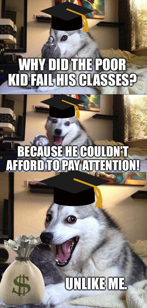 Bad School Pun Dog |  WHY DID THE POOR KID FAIL HIS CLASSES? BECAUSE HE COULDN'T AFFORD TO PAY ATTENTION! UNLIKE ME. | image tagged in memes,bad pun dog,school,failing | made w/ Imgflip meme maker