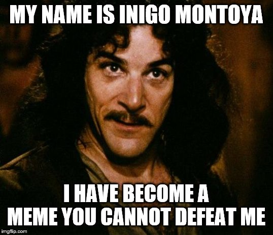Inigo Montoya | MY NAME IS INIGO MONTOYA I HAVE BECOME A MEME YOU CANNOT DEFEAT ME | image tagged in memes,inigo montoya | made w/ Imgflip meme maker