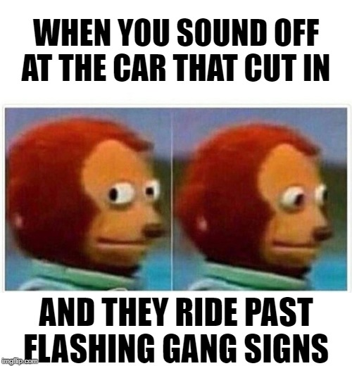 Sup | WHEN YOU SOUND OFF AT THE CAR THAT CUT IN AND THEY RIDE PAST FLASHING GANG SIGNS | image tagged in monkey puppet,traffic light,traffic,gangster,driving,funny meme | made w/ Imgflip meme maker