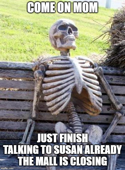 Waiting Skeleton | COME ON MOM JUST FINISH TALKING TO SUSAN ALREADY THE MALL IS CLOSING | image tagged in memes,waiting skeleton | made w/ Imgflip meme maker